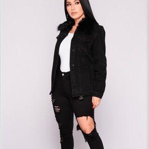 2df5ec7c34 Fashion Nova Jackets   Coats - Black denim jacket with removable faux fur  hood
